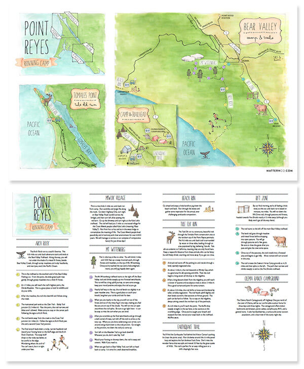 Free Watercolor Map of Point Reyes Running Trails