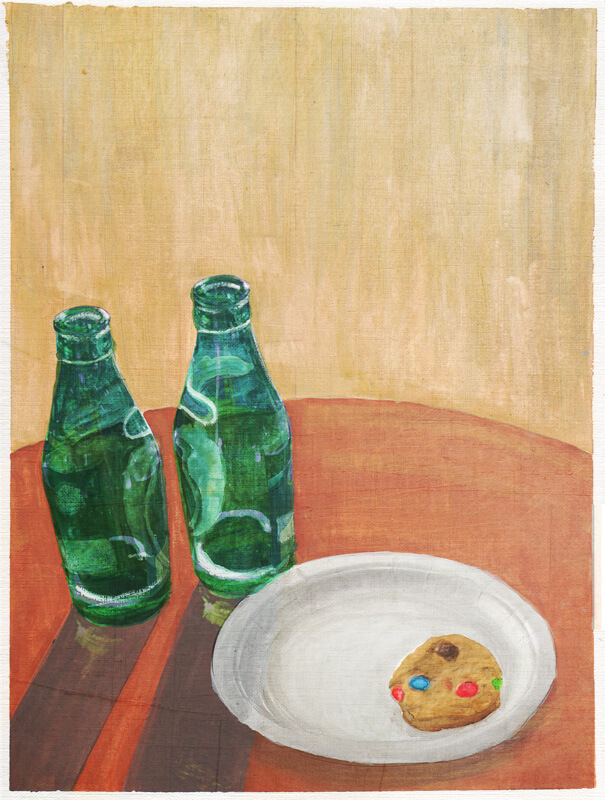 """I stare at the table in front of me, at the beer bottles glowing with captured sunlight. A single cookie remains pressed on the paper plate, its candy coatings blurring together."""