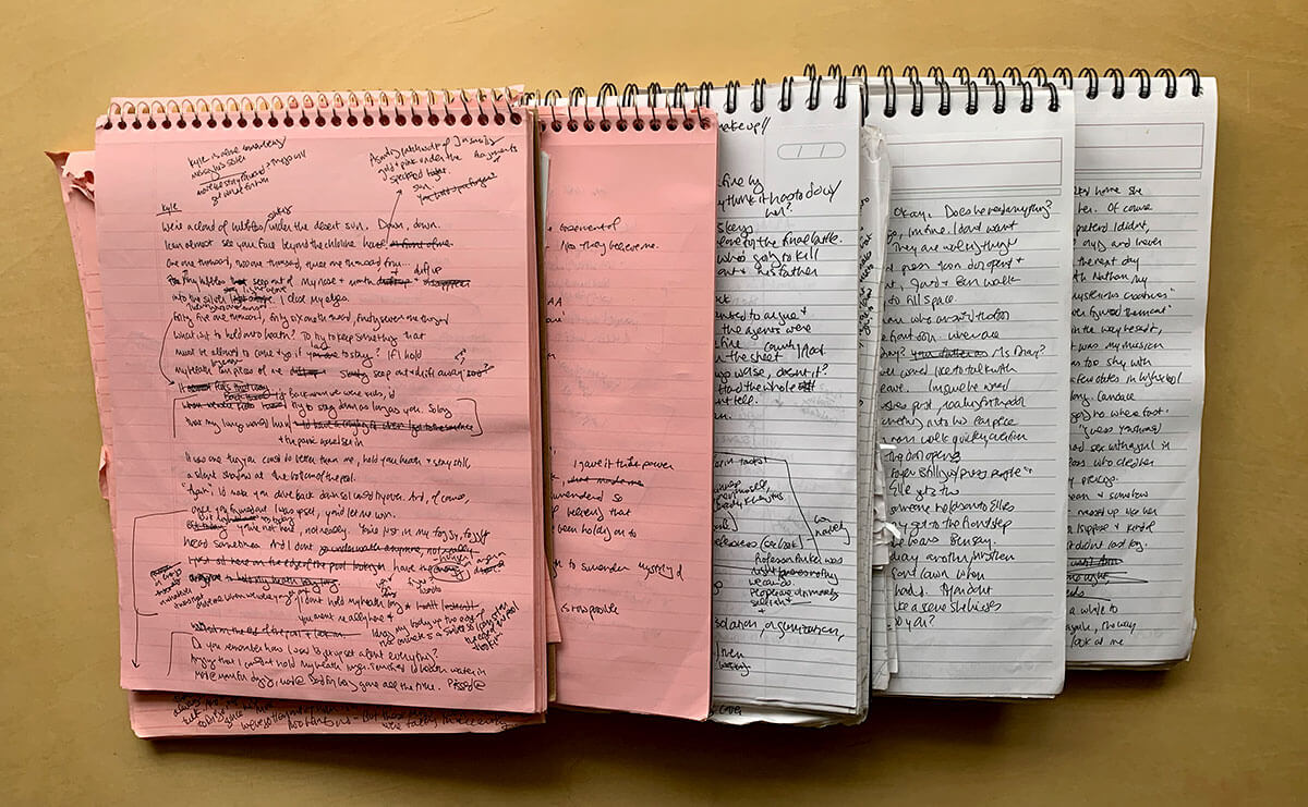 Messy notebooks help get a creative project started